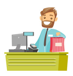 Caucasian white cashier handing over shopping bag vector