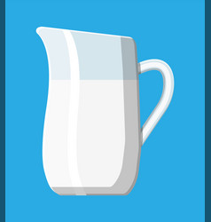 Ceramic jug with milk isolated on blue vector