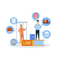 Criminal case trial procedure vector
