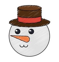 Cute christmas snowman character vector