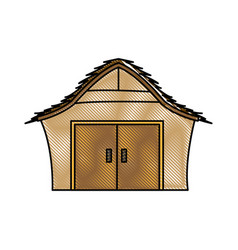 Drawing manger house wooden nativity design vector