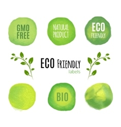 Eco friendly natural product watercolor labels vector image