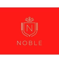 Elegant monogram letter N logotype Premium crest vector image
