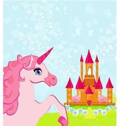 Fairytale landscape with pink magic castle and vector image