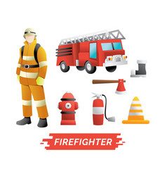 firefighter design element vector image