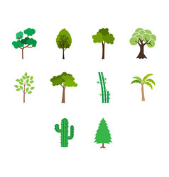 Flat color tree icon set vector
