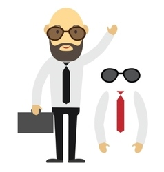 Flat designed businessman with beard and glasses vector