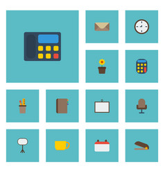 flat icons watch calculate letter and other vector image