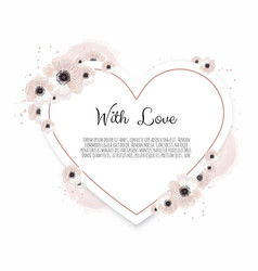 floral heart with decorative flowers valentines vector image