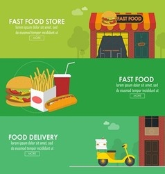 Food delivery horizontal banner set vector image
