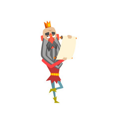 Funny king character holding paper scroll king vector