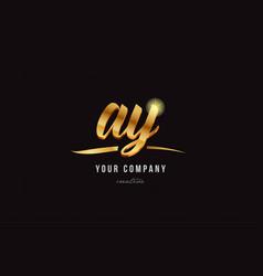 gold alphabet letter ay a y logo combination icon vector image