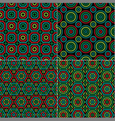 Granny square patterns on black vector
