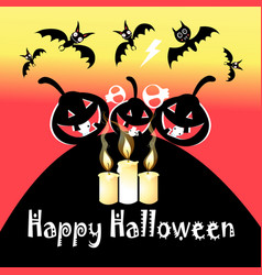 halloween festive greeting card with pumpkins and vector image