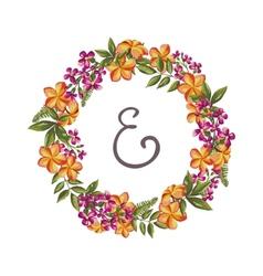 Hand-drawn vintage flower wreath vector image