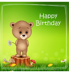 Happy birthday background with little bear vector
