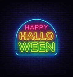happy halloween neon text design template vector image