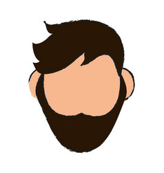Head of faceless man with beard icon image vector