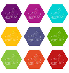 ice skate icons set 9 vector image