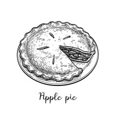Ink sketch apple pie vector