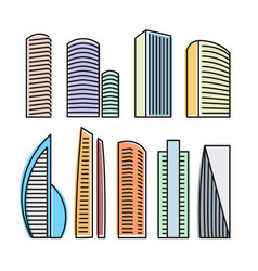 Isolated colorful skyscrapers in lineart style vector