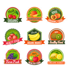 Labels with fruits vector