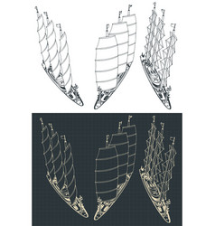 Large modern sailing ship sketches vector