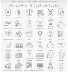 Law and justice ultra modern outline line vector image