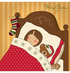 little girl waiting for Santa on Christmas Eve vector image vector image