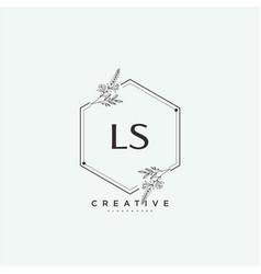 Ls beauty initial logo art handwriting logo vector