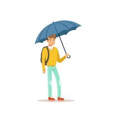 man standing under blue umbrella flat vector image