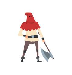 Medieval executioner character with axe vector