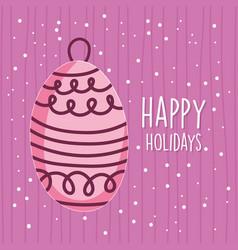 merry christmas celebration decorative pink ball vector image