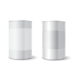 Metal tin can tincan ribbed canned food mock up vector