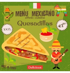 Mexican menu quesadillas vector