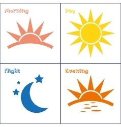 Morning day evening night icon set vector image