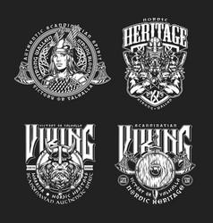 Nordic viking vintage emblems set vector