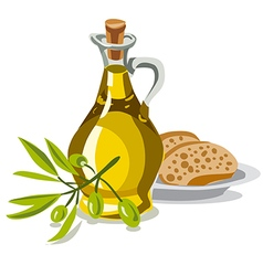Oil olive with bread vector
