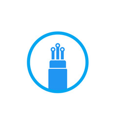 Optic fiber cable icon on white vector