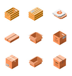 package icon set isometric style vector image