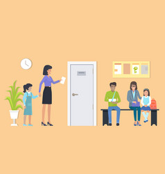 patients at waiting room on vector image