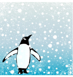 Penguin in the snow vector