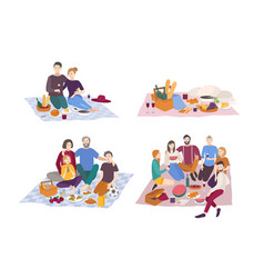 picnic in park set couple vector image