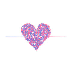 pink and blue complicated lined heart vector image
