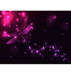 Plasma dragonfly and hearts vector image