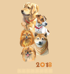 Postcard with dogs of different breeds-3 vector