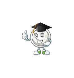 Proud chinese silver coin wearing a graduation hat vector