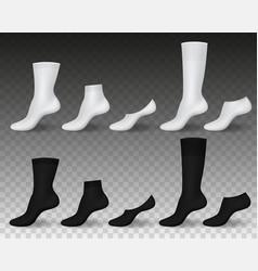 Realistic socks black white blank wear templates vector