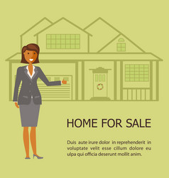 realtor with placard for sale vector image