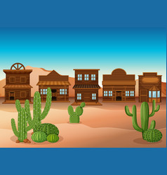 Scene with shops and cactus in desert vector